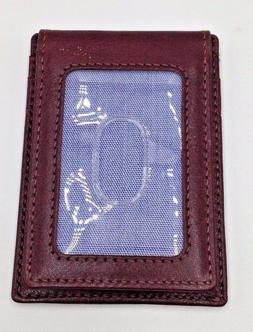 $102 TOMMY HILFIGER Men BROWN LEATHER VALET MONEY CLIP CARD