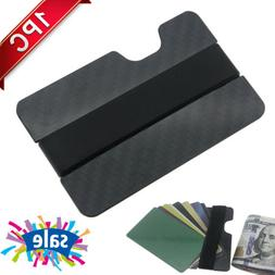 1x Mens RFID Blocking Carbon Fiber Money Clip Slim Wallet Cr