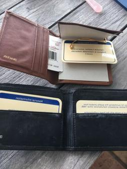2 Buxton Leather Wallets 1 Money Clip - Brown -1 Black Bifol