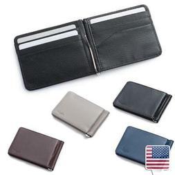 4 Color Super Slim Card Slot ID Name Card Holder Leather Wal
