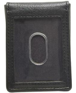 $67 TOMMY HILFIGER MEN'S BLACK LEATHER 4CC MONEY CLIP CARD F