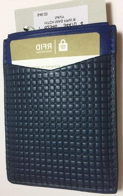 Fossil Hitch RFID Navy Leather Card Case Magnetic Money Clip