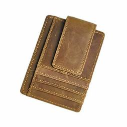 Le'aokuu Genuine Leather Magnet Money Clip Credit Card Case