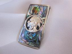 Abalone Inlaid Silver Indian Head Money Clip. Beautiful Gift