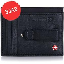 Alpine Swiss Mens Money Clip Genuine Leather Minimalist Slim
