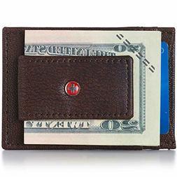 Alpine Swiss Mens Wallet Leather Money Clip Thin Slim Front