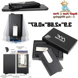 Aluminum RFID Blocking Automatic Pop Up Carbon Fiber Slim Wa