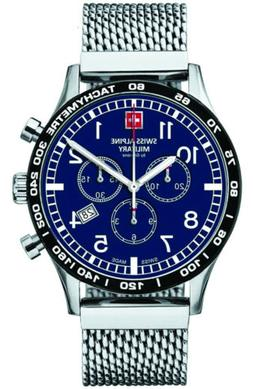 Swiss Alpine Military Aviator Chrono Blue Dial Silver Men's