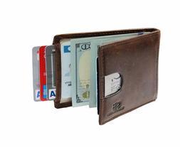 SERMAN BRANDS Bifold Genuine Leather Front Pocket Wallets wi