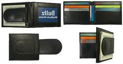 Bifold Money Clip Mens Wallet  Credit Card ID Holder New Bla