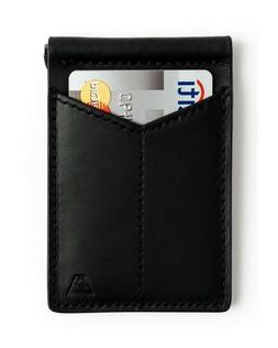ANDAR Black BARON Leather Wallet 2 Card Pockets & Money Clip
