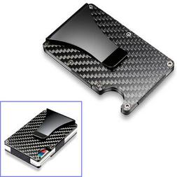 Black Carbon Fiber Slim Bank Debit Card Holder Money Clip Bu