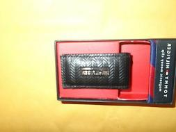TOMMY HILFIGER BLACK HERRINGBONE LEATHER MONEY CLIP