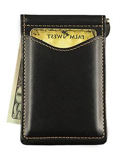 Black Premium Leather Mens Palm West Money Clip Wallet & Cre
