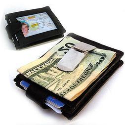 Black Men's Genuine Leather Money Clip 12 Cards Wallet Front