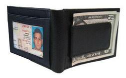 BLACK MEN'S LEATHER MAGNETIC MONEY CLIP Front Pocket Bifold