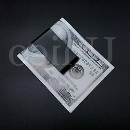 black stainless steel slim money clip cash