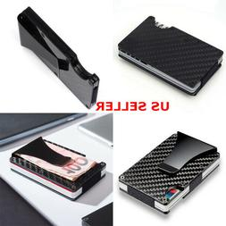 Black Wallet Carbon Fiber Money Clip Minimalist Front Pocket