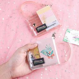 Bling Clear Card Holder PVC Women Folding Short Money Clip W