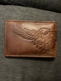 Fossil Brown Leather BiFold Money Clip Front Wallet Eagle Im
