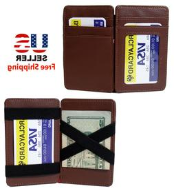 BROWN LEATHER MAGIC WALLET CREDIT CARD HOLDER MONEY CLIP wit