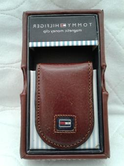 TOMMY HILFIGER BROWN LEATHER MAGNETIC MONEY CLIP & CASE or B