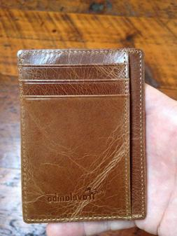Travelambo Brown Leather Minimalist Slim Travel Money Clip F