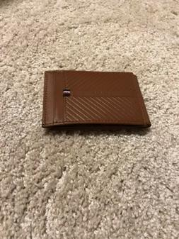 Tommy Hilfiger Brown Leather Money Clip Wallet New