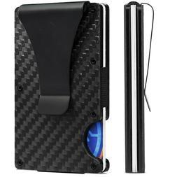 Carbon Fiber Credit Card Holder RFID Block Money Clip Men St