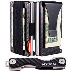 MouZie Carbon Fiber Money Clip + Cash Strap Band Slim Alumin
