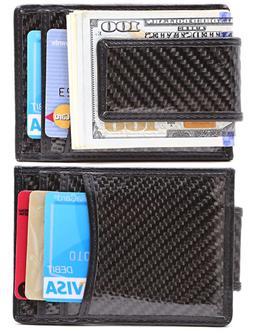Carbon Fiber Money Clip RFID Mens Slim Wallet Strong Magneti