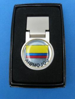 COLOMBIA COLUMBIA FLAG LOGO BRIGHT GOLD MONEY CLIP IN BOX #1