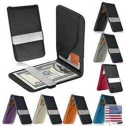 Color Horizontal Genuine Leather Silver Money Clip Wallet ID