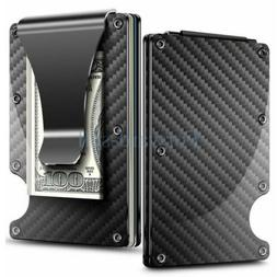 Credit Card Holder Carbon Fiber Case Slim RFID Metal Wallet