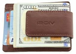 Credit Card Holder Mens Leather Money Clip Wallet Slim Front