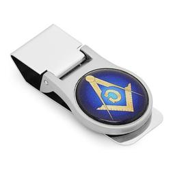 Custom Made Mason Symbol Folding Round Money Clip