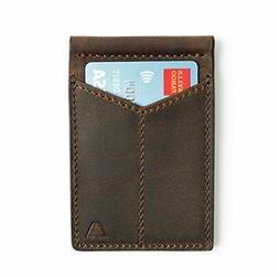 DARK BROWN RFID Leather Front Pocket Bifold Wallet FOR MEN C