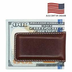 DISTRESSED BRANDY BRIDLE LEATHER MAGNETIC MONEY CLIP MADE IN