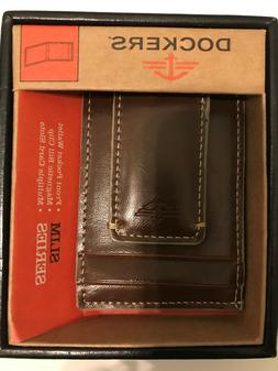 Docker's Mens Brown Leather Slim Wallet $14 OFF Front Pocket
