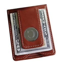 Engraved Personalized Brown Leather Money Clip and Wallet Co