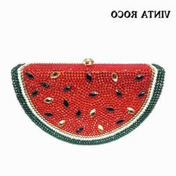 Fashion Fruit Glitter Diamante Watermelon Clutch Bag Crystal