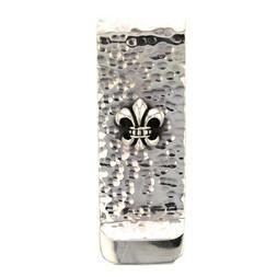 Fleur De Lis Sterling Silver money clip hammered handmade ne