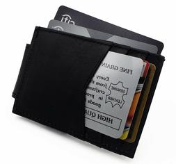 Front pocket Genuine Leather Magnetic Money Clip Card-ID Hol