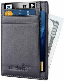 Travelambo Front Pocket Minimalist Leather Slim Wallet RFID