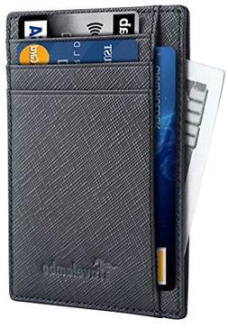Front Pocket Minimalist Leather Slim Wallet RFID Blocking Me