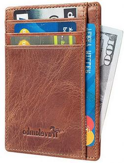 Travelambo Front Pocket Wallet Minimalist Wallets Leather  M
