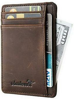 Travelambo Front Pocket Wallet Minimalist Wallets Leather Sl