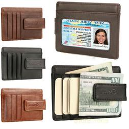 Front Pocket Wallet Money Clip Leather RFID Blocking ID Cred