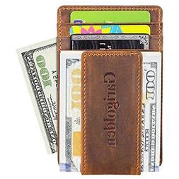 Garigolden Money Clip, Leather RFID Blocking Wallet For Men