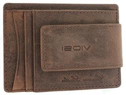 Viosi Genuine Kingston Leather Magnetic Front Pocket Money C